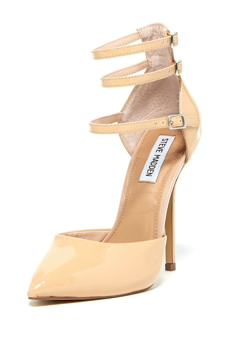 Gold Plate Ankle Strap Heels