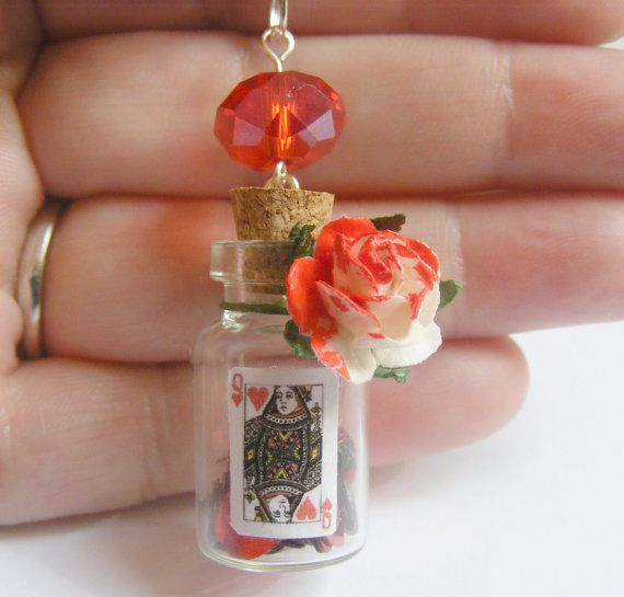 Alice in Wonderland Queen of Hearts Bottle Necklace Miniature Food Pendant - Miniature Food Jewelry. £12.99, via Etsy.