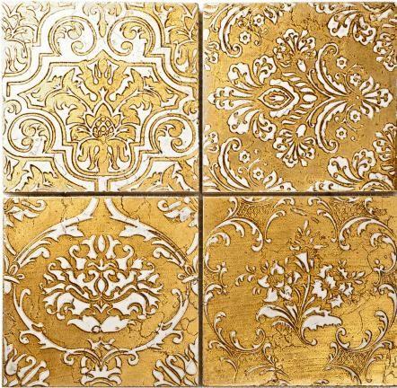 15x15 Fasano kakel no20 Handgjord dekorplatta i marmor, här i guld och vitt. Storlek: 15 x 15 cm.    Tile 'Fasano no20' in gold and white.  Size 15x15cm.