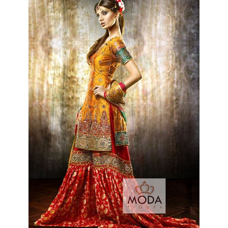 Buy Pakistani bridal flared gharara and sharara @modafigura.com