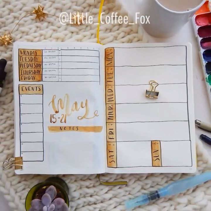 A Simple Gold Bullet Journal Weekly Spread – Unique Weekly Spreads To Try