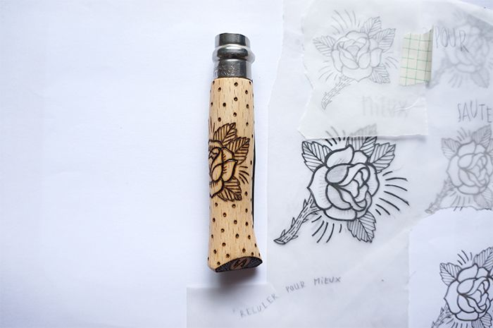 BLANC/BLANC - ROSE & DOTS pyrography on OPINEL knife