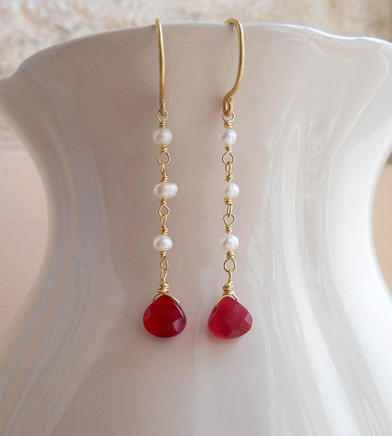Poppy long gemstone dangle drop earrings red white minimal simple everyday wire wrap freshwater pearls quartz gold fill June birthstone gift