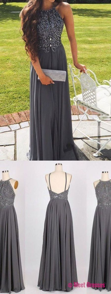 Elegant prom dress, long prom dress,grey beaded prom dresses,backless chiffon prom dress PD20188527