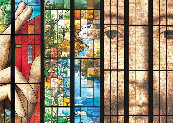 The Strasbourg Cathedral: Digitally printed artwork on a stained glass in Cathedral Renovation by Saint-Gobain GLASSOLUTIONS, France