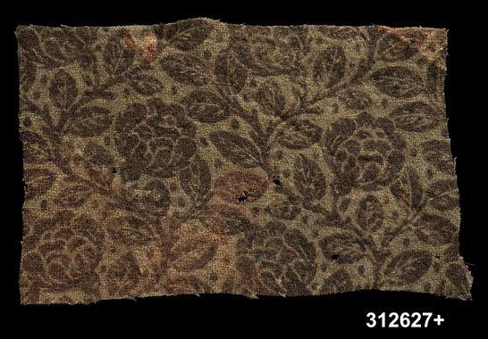 DigitaltMuseum - Tygprov Printed wool flannel used as lining. c. 1750