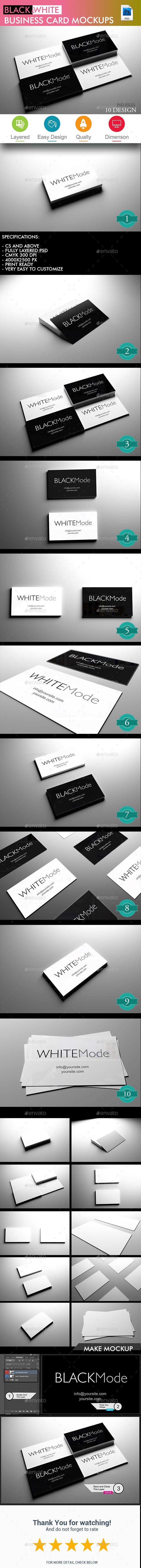 Black & White Business Card Mockup - Volume 2