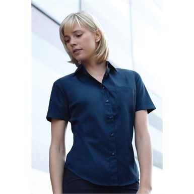 Fruit Of The Loom's Lady-Fit Short Sleeve Poplin Shirt is an ideal garment, as part of both work and casual outfits. This shirt is well styled with both back and bust darts for enhanced comfort and a feminine fit.