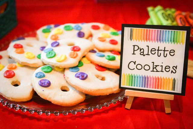 Palette cookies at an Art Party #artparty #cookies