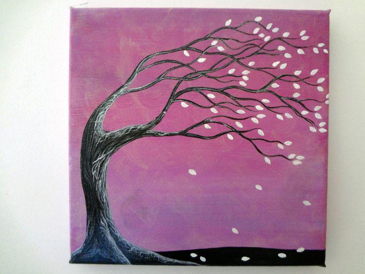 Árbol hojas blancas, 20x20cm, Lienzo, Pintura acrílica, Regalo día de la Madre, Decoración hogar, Regalo para ella, Regalo para él de puponelandia en Etsy