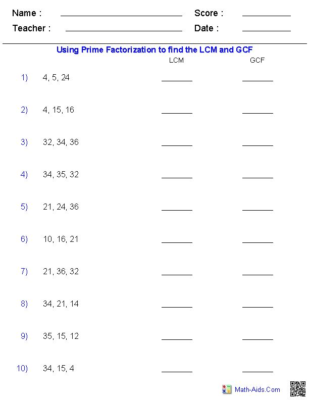 Worksheets Factoring Greatest Common Factor Worksheet 1000 ideas about least common multiple on pinterest greatest factors and multiples prime factorization