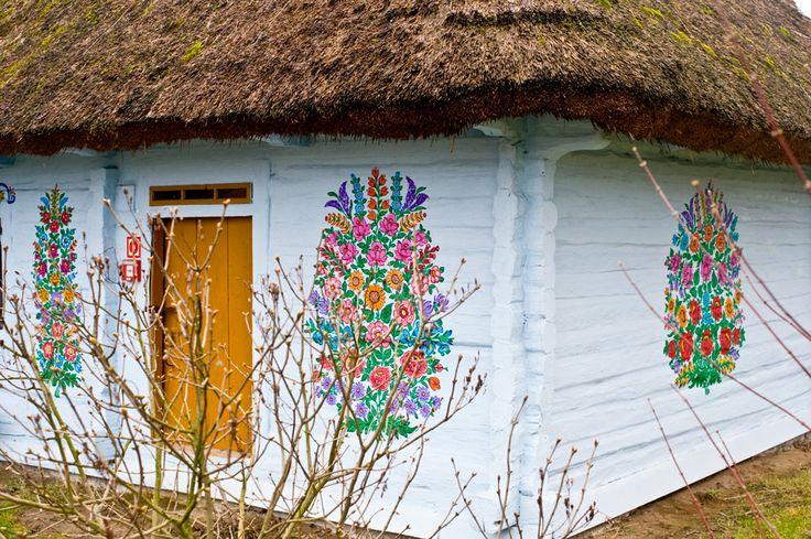 Painted house in Zalipie in Poland.