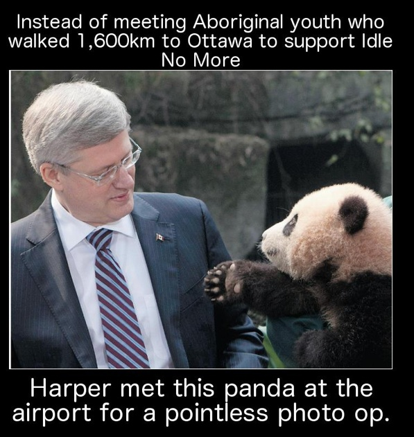 Aboriginal youth have been travelling by foot to Ottawa through traditional Cree trading routes for months to bring their concerns to parliament. Instead of meeting and hearing their concerns Canadian Prime Minister, Stephen Harper, was taking a photo with a Panda in Toronto. #idlenomore #postcolonialism?