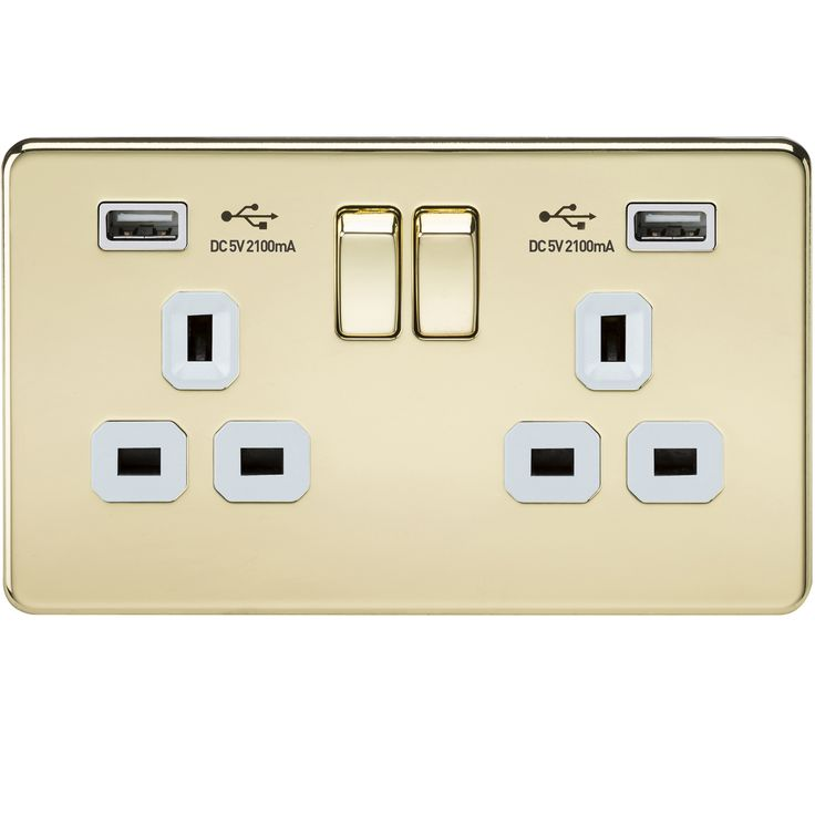 Screwless-Flat-Plate-Electrical-Light-Switches-Plug-Sockets-Polished-Brass