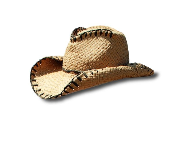 Paper braid cowboy hat with whip stitch detail
