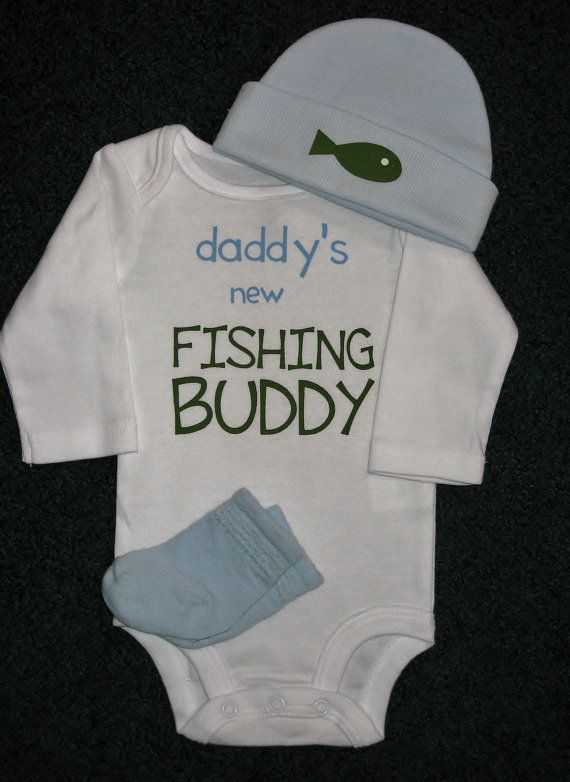 Daddy's New Fishing Buddy Onesie Gift Set For by SugarBearHair, $22.95