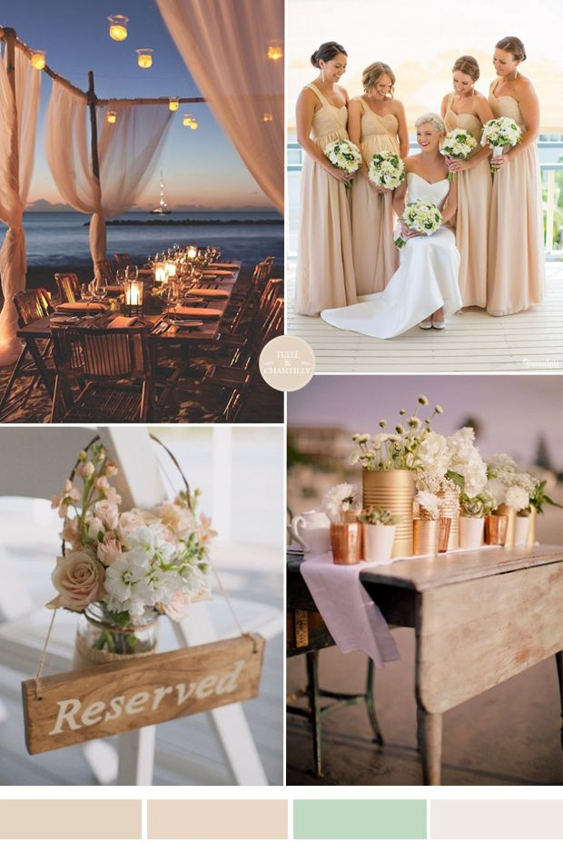 nude champagne and pale green beach wedding color inspiration ideas