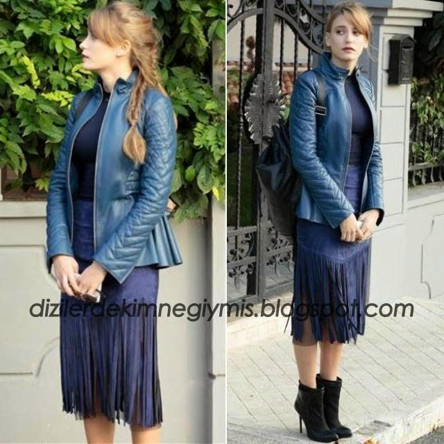 Medcezir - Mira (Serenay Sarıkaya), Navy Leather Jacket and Fringe Skirt