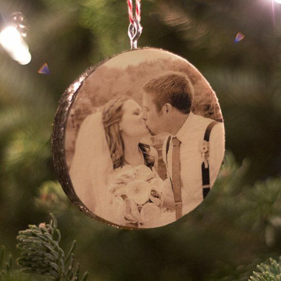 "See how easy it is to create a custom photo ornament on a wood slice, perfect for ""Our First Christmas"" or ""Baby's First Christmas""!"