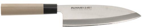 Bunmei 1801/195 - 7 3/5 inch Deba Knife by Global. $131.95. Blade made of high-tech molybdenum/vanadium stainless steel. Broad blade weighted for chopping through fish bones. 7-3/5-inch blade for fish butchering and hard vegetables. Traditional wood handle with ridge for secure grip. Edge retains razor sharpness exceptionally well. Amazon.com                Thick at the back, the broad, 7-3/5-inch blade on this professional-quality Japanese knife for butchering fish ...