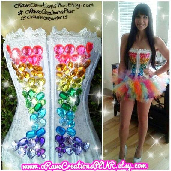 Corset: $95  Rainbow Tutu: $35    Pictured above is one of my custom cRave Creations designs. This design is completely customizable. Message