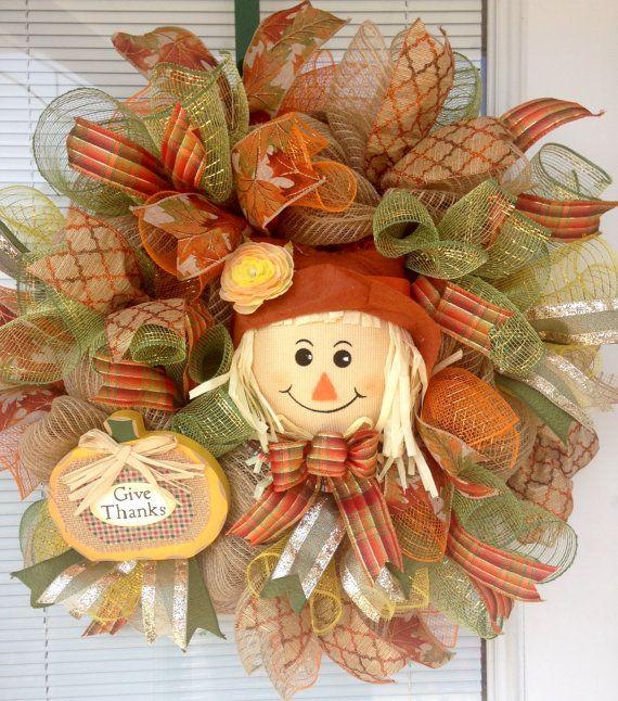 Fall Scarecrow Wreath Autumn Scarecrow by YourCountryTreasures