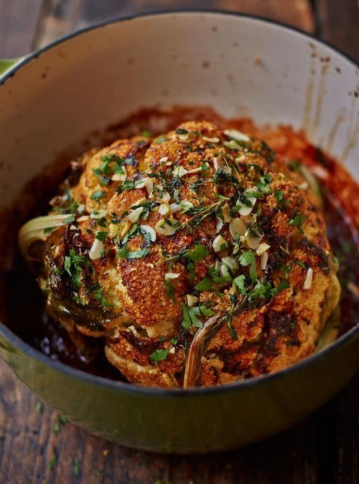 Whole Roasted Cauliflower with Thyme + Paprika Rub via Jamie Oliver #vegetarian #recipe #vegetables #cauliflower #roast