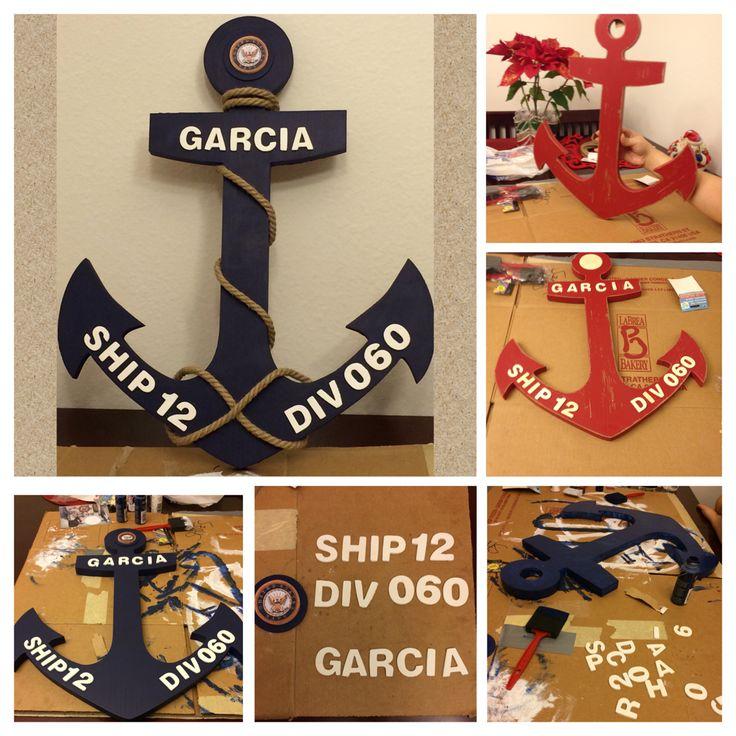 PIR Door Decoration #Anchor #BootCampGraduation #Navy #AnchorsAweigh #DIY #Transformation