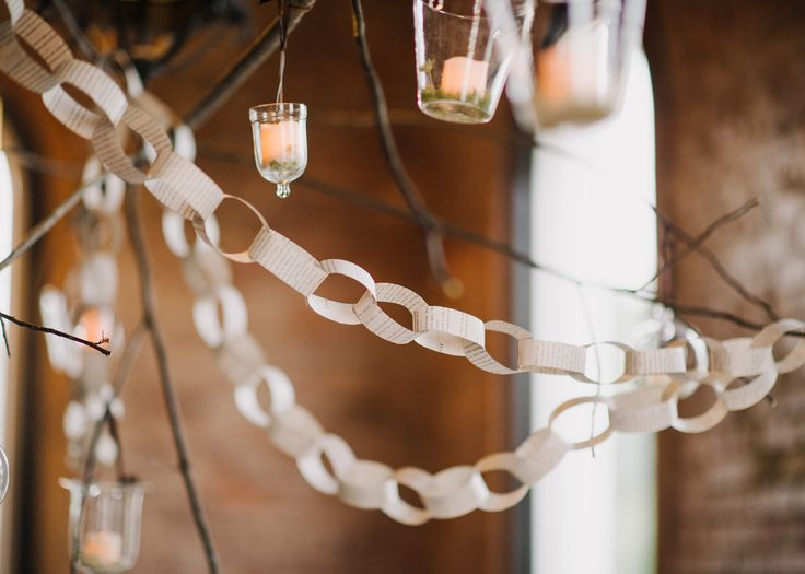 paper chain garland and hanging lights | wedding decor