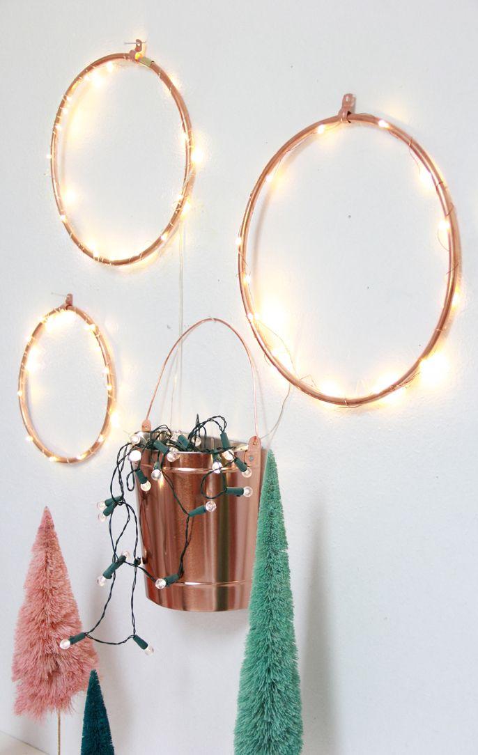DIY Copper Lighted Wreaths #anthrofave bottlebrush trees