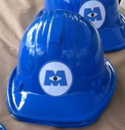 Plastic monsters inc. and monsters university scaring assistant helmets/hats for birthday parties (set of 6) on Etsy, $26.00