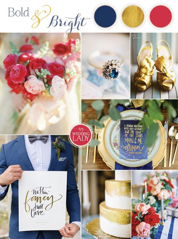 Modern Preppy Bold and Bright Wedding in Blue and Gold