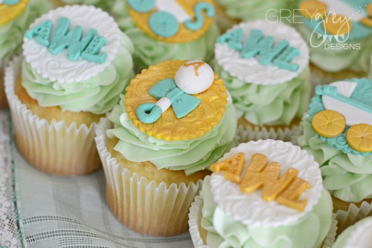Monogram Cupcakes at a Baby Shower - could this be any sweeter?! #babyshower