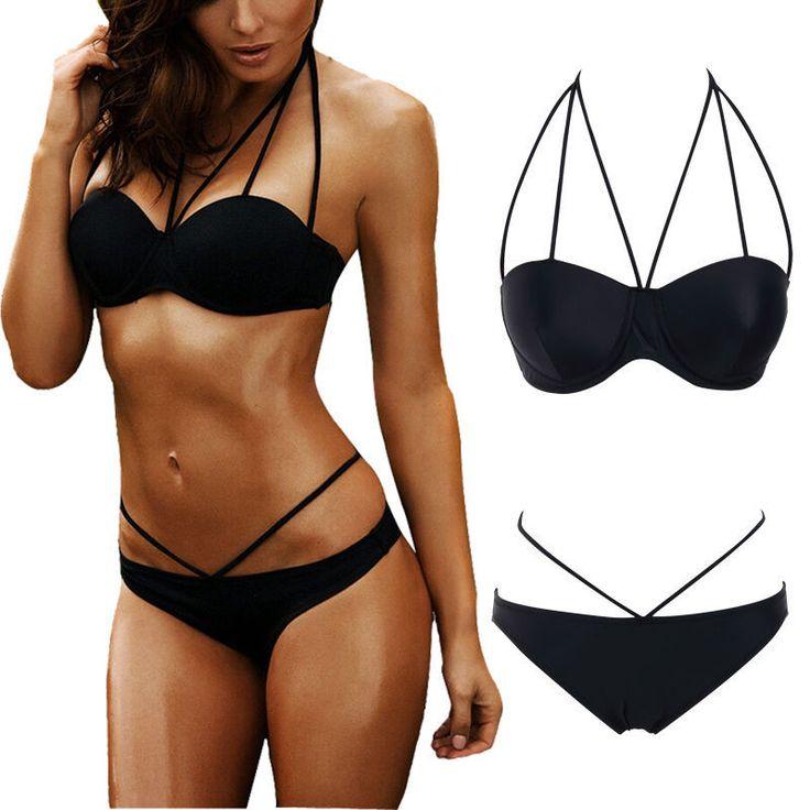 Black Low waist swimsuit Sexy halter string strappy bikini 2017 swimwear women Bandage bathing suit bather maillot de bain