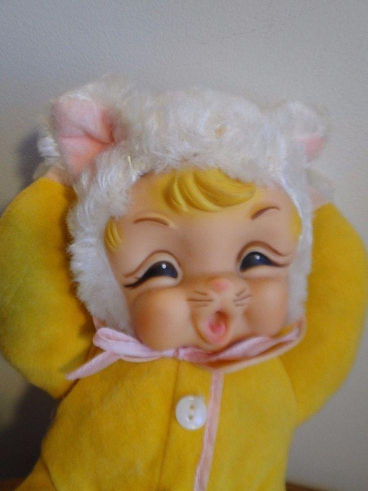 Monster High Ebay >> Vintage RUSHTON Yawning Cat ? Rubber Face Doll Stuffed ...