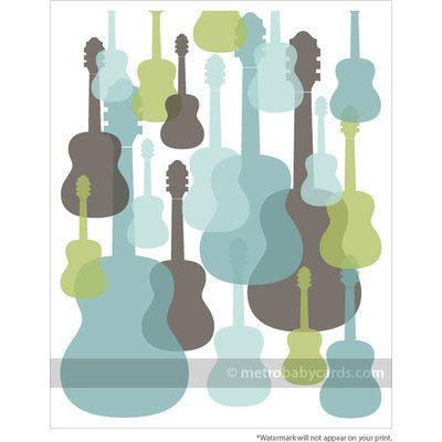 Modern Guitars Nursery Wall Art - Blue/Green/Grey - 16x20 Mounted Print by etsy.com $10
