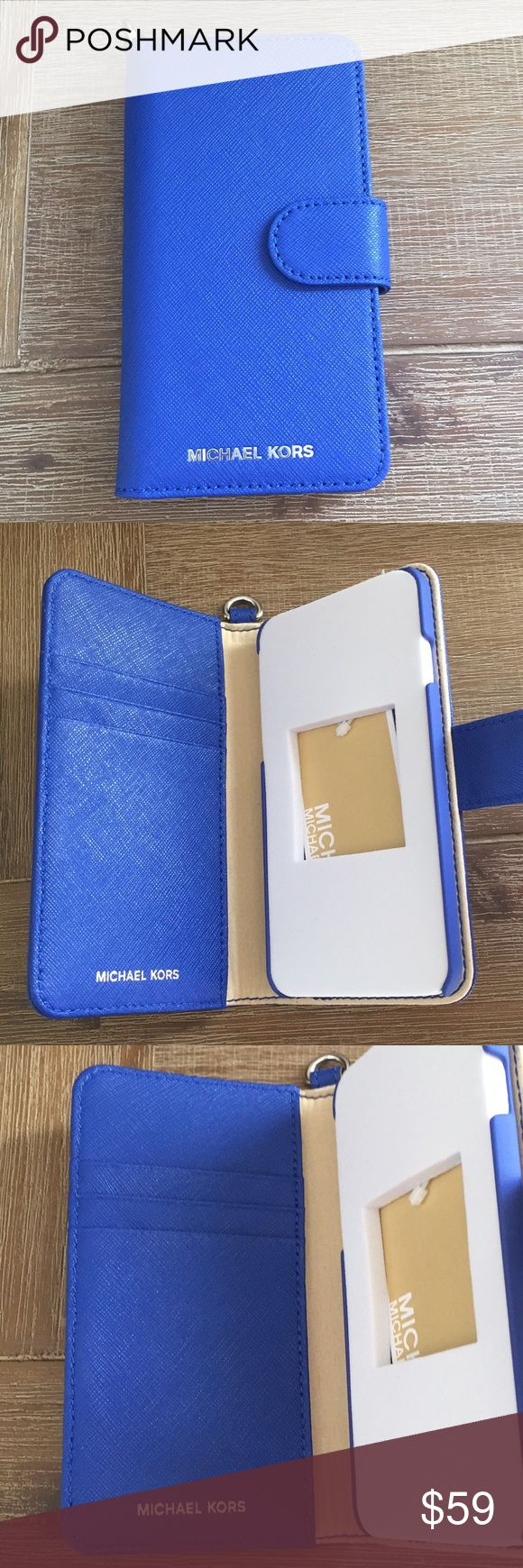 🆕Michael Kors IPhone 7 Folio Case, Blue Leather Michael Kors Electric Blue Saffiano Leather Folio case holds and protects your IPHONE 7 in style. Inside has 3 credit card slots to keep your ID or cards safe. Magnetic closure. New, never used, comes in original box. MICHAEL Michael Kors Accessories Phone Cases
