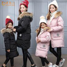 Зима Теплая девушки пуховики/пальто мода Длинные родитель-ребенок наряд детей вниз Парки Густой Мех Воротника малыш Одежда XQ187(China (Mainland))