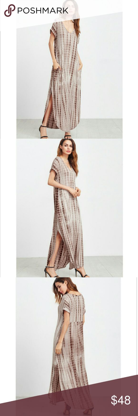 NOW AVAILABLE!! COFFEE TIE DYE MAXI COFFEE TIE DYE PRINT SPLIT CURVED HEM MAXI DRESS WITH POCKETS!   -MEASUREMENTS/MATERIAL CONTENT/SEE LAST IMAGE -BUNDLE DISCOUNTS AVAILABLE/JUST ASK Dresses
