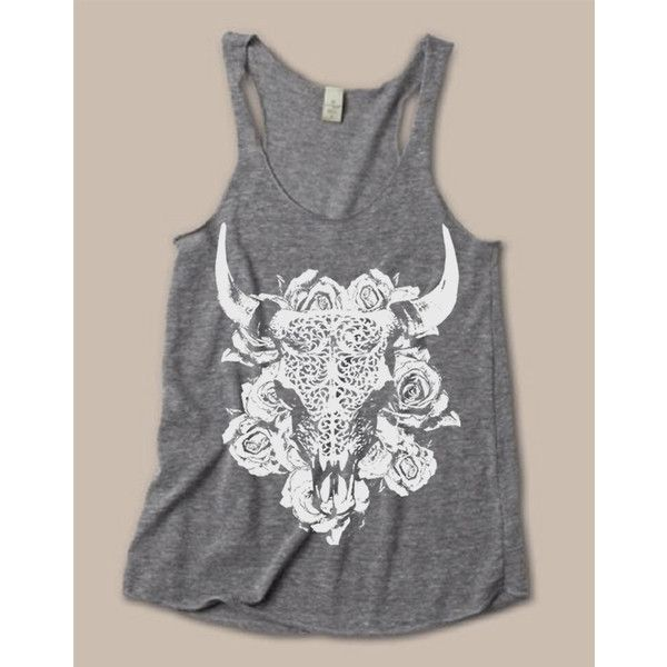 Womens Bull Buffalo Cow Skull Shirt Boho Desert Flower Tribal Bohemian... ($20) ❤ liked on Polyvore featuring tops, blue, tanks, women's clothing, skull shirts, blue shirt, racer back tank top, sexy shirts and bohemian shirts