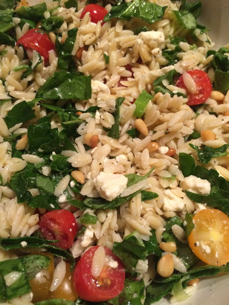 Spinach Basil Orzo Salad 2 cups orzo cooked in chicken broth Olive ...