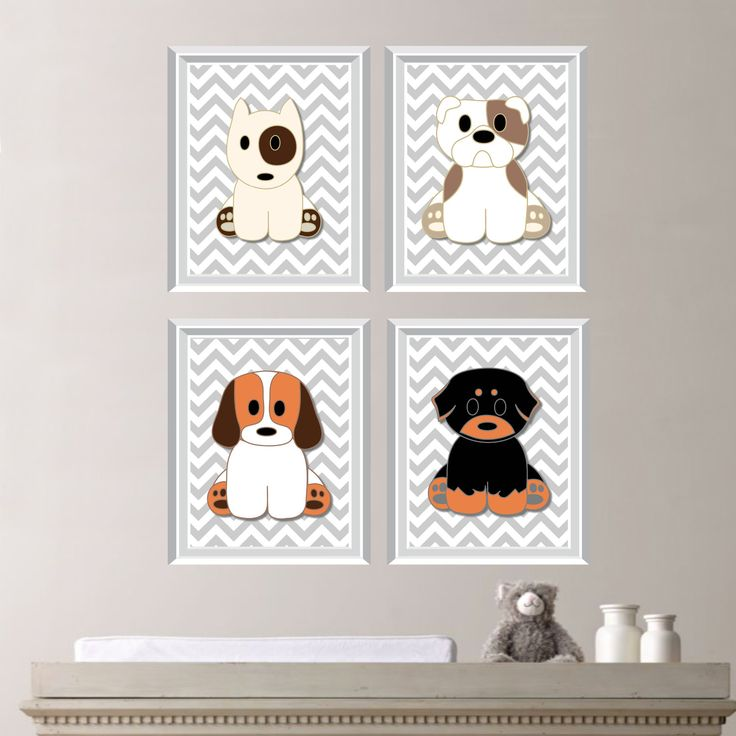 Dog Puppy Theme Chevron Quad Baby Decor Nursery Boy Dogs Puppies You Pick The Size Ns 153