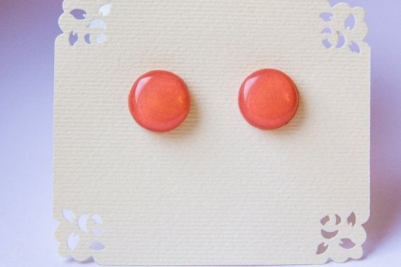 Light сoral studs coral post earrings coral jewelry от JewelryBest