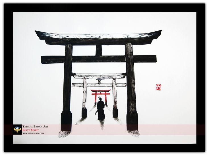 Torii Gates Samurai Print Painting. Samurai art.