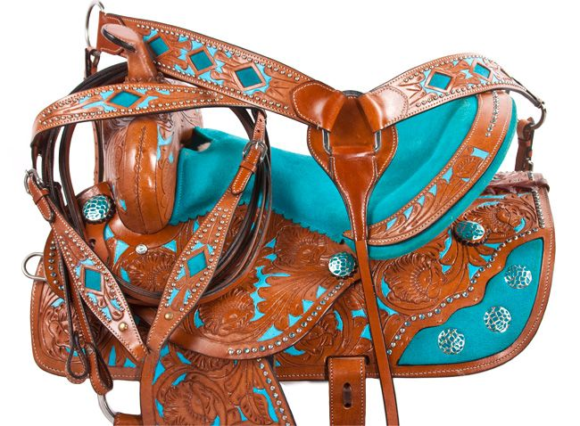 Turquoise Inlay Barrel Racing Western Horse Saddle 14 16