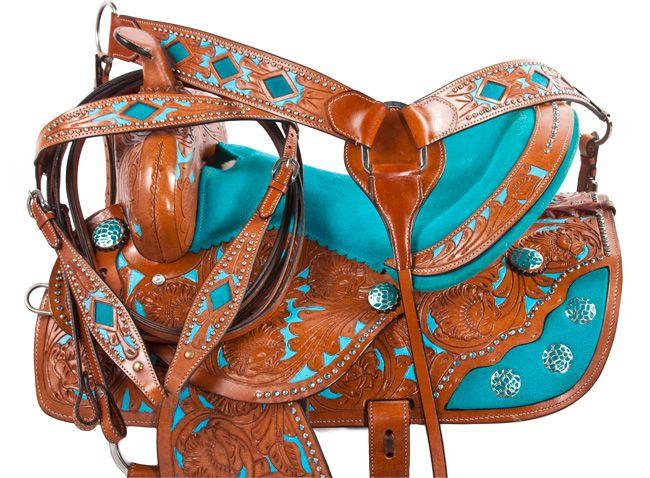 Turquoise Inlay Barrel Racing Western Horse Saddle 14 16