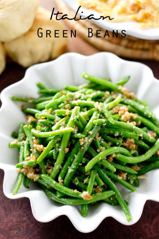 Italian Green Beans >> by Tastes of Lizzy T's. The simplest, most delicious way to eat green beans! These Italian Green Beans are sauteed in butter, bread crumbs and Parmesan cheese.
