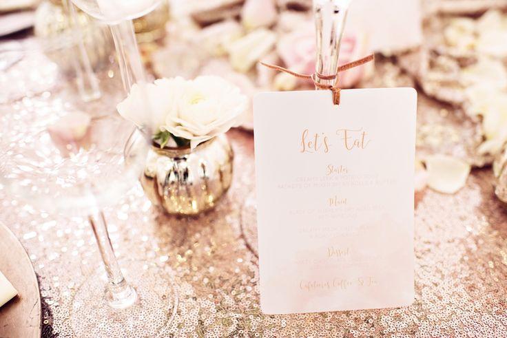 Wedding breakfast menu by Loveli Deisgns