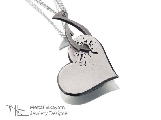 Heart Necklace Pendant in Sterling Silver - Silver Heart Necklace With A Hook, Sterling Heart Necklace,Heart Necklace | Gift for her by MeitalElkayam on Etsy https://www.etsy.com/listing/222228865/heart-necklace-pendant-in-sterling