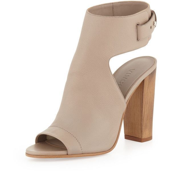 Vince Addie Open-Toe Buckle-Back Sandal ($420) ❤ liked on Polyvore featuring shoes, sandals, boots, heels, ankle boots, brown, strappy heel sandals, block heel sandals, strappy high heel sandals and strap heel sandals #brownsandalsheels